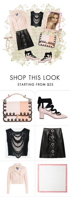 """""""Pink & Black Leather"""" by sherrysrosecottage-1 ❤ liked on Polyvore featuring Fendi, Valentino, Sans Souci, Gucci, Emilio Pucci, COVERGIRL and Deborah Rhodes"""