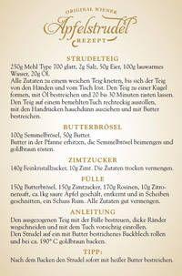Café Wien ::Apfelstrudelrezept - Original Rezept für Wiener Apfelstrudel