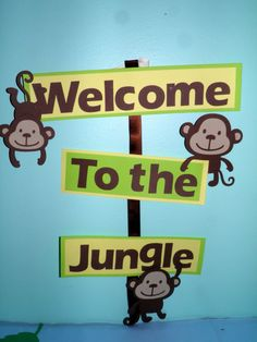 These cute little monkeys hold a special message in their hands for your little one. This listing includes the Welcome to the Jungle Sign only. The