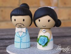 Cute wedding cake topper - Bride and Groom- Perfect for Joe and Sheryll