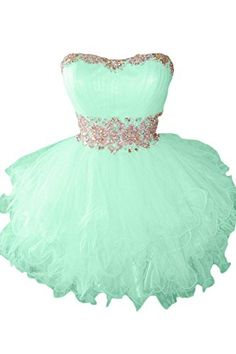 Women's Sweetheart Tulle Puffy Beaded Cocktail Homecoming Dress Mint