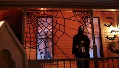 This easy spiderweb Halloween decoration adds a spooky hint of fun to any home. Make the giant bug-catcher using friction tape and a stapler.