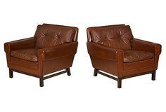 1960s Danish Leather   Club Chairs, Pair on OneKingsLane.com