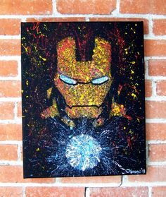 Iron Man of Marvel Comics Avengers Acrylic on Canvas Splatter Minimalist Portrait on Etsy, $15.00