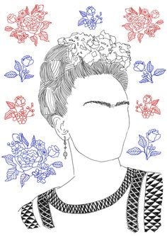 Frida_Kahlo_Illustration  **wanna draw trees extending from the face