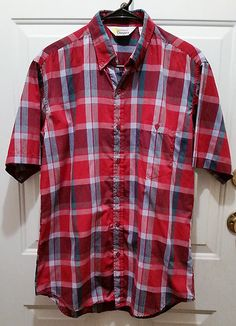 a8b611ebc74 Men s Red Checked Shirt Med Short Sleeve Button Up Poly Blend Southern  Classics  SouthernClassics