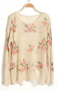 Beige Rose Flowers Print Ripped Distressed Long Sleeve Jumper