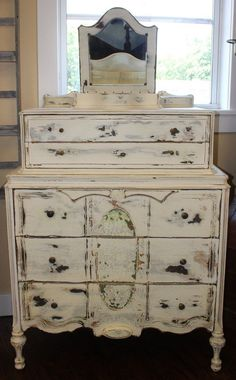 Another beautiful piece just restored by our refinisher and restorer Daniel This Antique Provencial Dresser with Original Mirror was fully restored