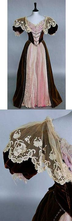 Brown velvet over pink silk, 1890-1900. Kerry Taylor Auctions
