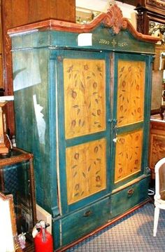 Swedish 2 door painted armoire