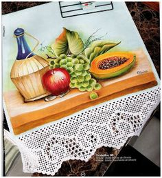 Acrylic Painting Canvas, Fabric Painting, Crochet Dollies, Vintage Cafe, Fruit Painting, Fruit Party, Filet Crochet, Crochet Edgings, Decoupage