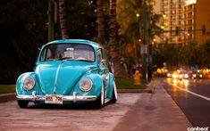Voertuigen Volkswagen Beetle Stad Blue Car Street Classic Auto Wallpaper