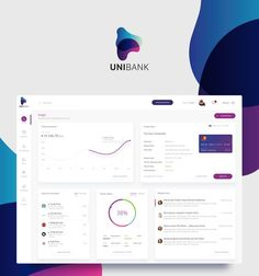 Bank Dashboard by Damian Denis for in Unibank Dashboard Ui, Dashboard Design, Dashboard Reports, Web Design Mobile, Web Ui Design, Design Design, Flat Design, Webdesign Inspiration, App Design Inspiration