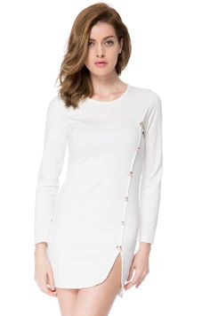 Buttons Design Long Sleeve Round Neck Pullover Dress   GonChas