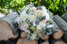 Beautiful Bride Bouquet! Light pink roses, minty green accents, baby's breath, lambs ear. #ManifestoPhotography #MastronardiWinery