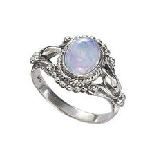 Antiqued Sterling Rainbow Moonstone Ring