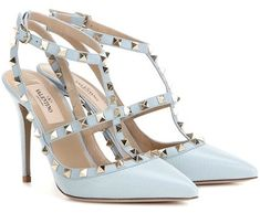 Rockstud Light Blue Leather Pumps By Valentino Stylish Walking Shoes, Walking In Heels, Stretch Knee High Boots, Valentino Rockstud Heels, Shoes World, Blue Shoes, Blue Pumps, Leather Pumps, Beautiful Shoes