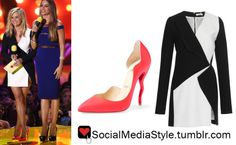 Buy Reese Witherspoon's MTV Movie Awards Black and White Dress and Wavy Pink Pumps, here!