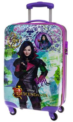 Maleta de cabina modelo fairest de los descendientes, la ultima novedad de Disney. es una maleta infantil dura de cuatro ruedas