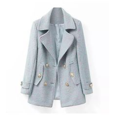 Double Breasted Gold Button Boucle Coat (196160 PYG) ❤ liked on Polyvore featuring outerwear, coats, jackets, tops, double breasted bouclé coat, blue coat, blue double breasted coat, boucle coat and drape coat