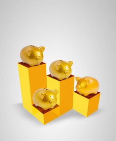 gold piggy bank on the box with the high and low level white