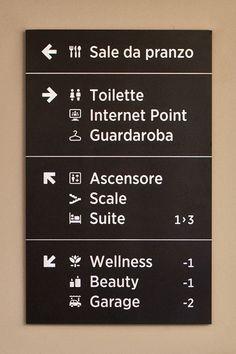 ピクトグラム Al Sole Hotel wayfinding system 2 Hotel Signage, Office Signage, Retail Signage, Hotel Branding, Directional Signage, Wayfinding Signs, Environmental Graphic Design, Environmental Graphics, Directory Design