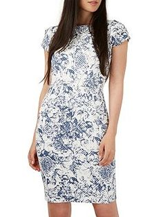 Floral Ribbed Bodycon Dress