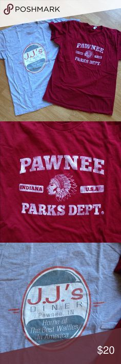 NWOT 2 Parks & Rec t-shirts 2 new shirts from the show- JJ's Diner and Pawnee, IN Parks Dept. First in friendship, fourth in obesity. Both unisex XL Tops Tees - Short Sleeve