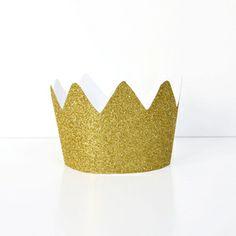 8 couronnes glitter dorées