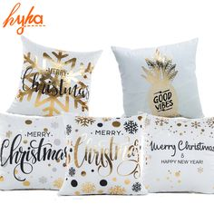 Cheap cushion cover, Buy Quality decorative pillow covers directly from China cover cotton Suppliers: Hyha Xmas Bronzing Cushion Cover Cotton Polyester Christmas Printed Pineapple Tropical Home Decorative Pillows Cover Pillowcase Christmas Cushion Covers, Christmas Cushions, Christmas Pillow, Christmas Time, Christmas Decor, Gold Pillows, Cute Pillows, Decorative Cushions, Decorative Pillow Covers