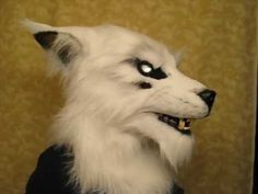 White wolf fursuit mask with LED eyes and moving jaw