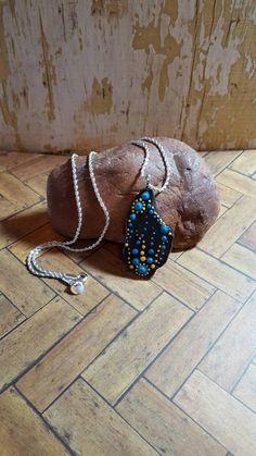 Aboriginal Dot Painted Rock Pendant