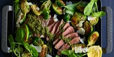 I Quit Sugar - Steak, Pesto + Brussels Minute Steaks, Lamb Ribs, Flat Iron Steak, Midweek Meals, Cooking Recipes, Healthy Recipes, Sugar Free Recipes, Lunches And Dinners, Healthy Fats