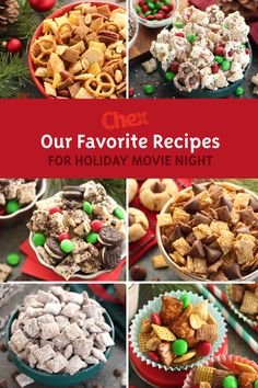 The Best Recipes for Office Holiday Parties — Help your team celebrate the holidays with their favorite seasonal treats from the classic Muddy Buddies to Gluten-free Peanut Butter Blossom Cookie Chex™ Party Mix and everything in between. Christmas Party Food, Holiday Snacks, Christmas Cooking, Christmas Desserts, Holiday Recipes, Christmas Recipes, Holiday Parties, Holiday Movie, Christmas Goodies
