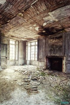 Abandoned....this must have been a beautiful room at one time.