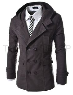 ::::Theleesshop:::: All mens slim & luxury items (ALM-CHARCOAL) Mens Casual Double Slim Cotton Hood Trench coat CHARCOAL