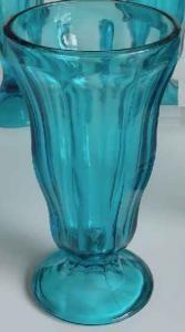 ANCHOR HOCKING 3 LARGE FOUNTAINWARE BLUE SUNDAE SODA TUMBLERS GLASSES