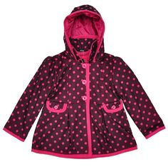 Girls Babies Burgundy Pink Spotted Hooded Swing Coat