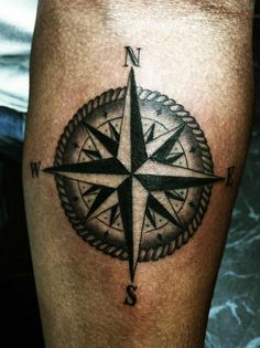 Tattoos nautical compass star with poles