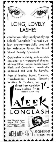 1927 Laleek Longlash. A mascara with lash growing claims.