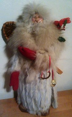 "Snow Shoe Santa Father Christmas Cardinal Fur Coat 23"" Tall by I Believe Santa $159.00"