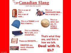 "Canadian Humor: Canadian Slang. (I try to avoid saying ""eh,"" though. I feel like a hillbilly when I do.)"
