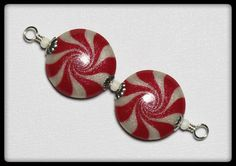 Handmade Beads, Polymer Clay Beads, Beads, Christmas Beads, Peppermint, Candy, Swirl, Spiral, Red, White, Silver, Candy Cane, Earrings, Pair