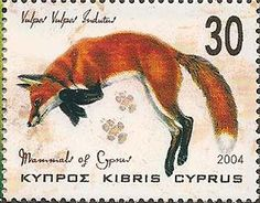Red fox postage stamp from Cyprus, issued 2004 Vintage Fox, Fantastic Mr Fox, Fox Illustration, Fox Hunting, Fox Art, Red Fox, Fauna, Stamp Collecting, Mail Art