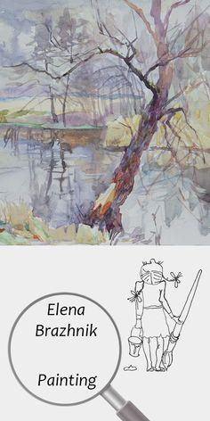 "Elena Brazhnik   Painting   Printable   Design   Interior   Instant Download   ""Frosty Rain"" (fragment)   Landscape Watercolor Paper Tree Purple Pink Orange Day River Autumn Reflections Digital Image for Print   №LW-005"