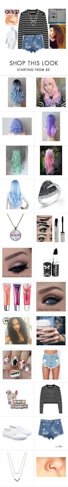 """0274"" by doglover43 ❤ liked on Polyvore featuring Clair Beauty, Cotton Candy, Hot Topic, Maybelline, Floss Gloss, Nail Pop, WithChic, Estée Lauder, TIBI and Vans"