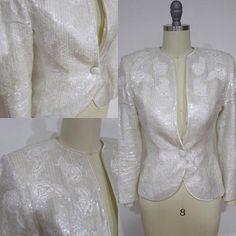 Vintage Cream Sequin Blazer dressy blazer designer #makersonhudson