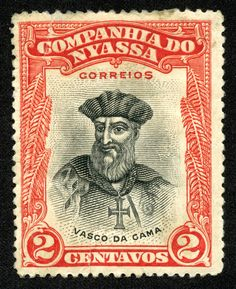 "Nyassa 1921-23 Scott 110 2c red & black ""Vasco da Gama"""