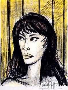 Bernard BUFFET ( 1928 - 1999 ) - Peintre Francais - French PainterBernard Buffet - Rita - 1960 lithograph - 71.5 x 54 cm