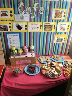 Cafe role play EYFS, ice cream shop, cornerstones curriculum, eyfs, foundation stage, reception classroom, display, topic